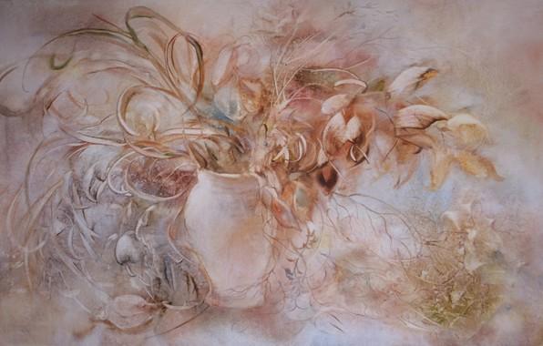 Picture flowers, picture, vase, Still life, Sfumato, gift painting, Petrenko Svetlana, pink grey background