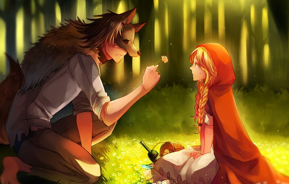 Picture flower, girl, romance, wolf, little red riding hood, art, guy, Red Riding Hood, Big Bad …