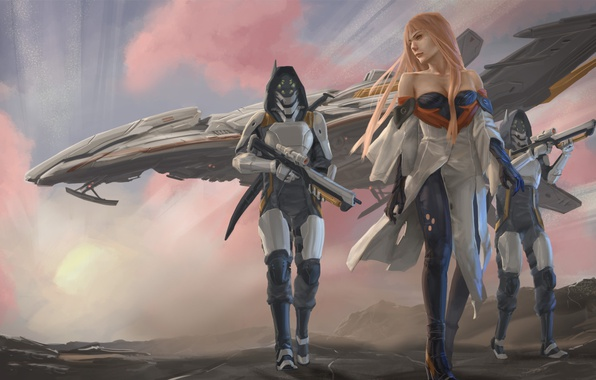 Picture girl, fiction, ship, art, soldiers