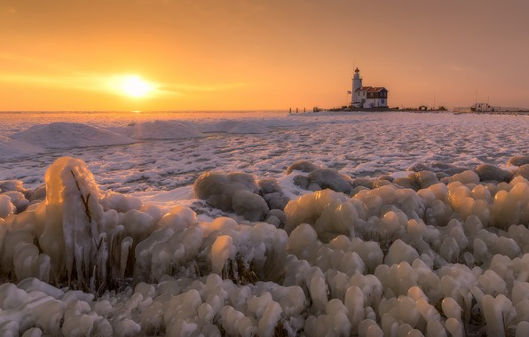 Picture sea, sunset, shore, lighthouse, ice