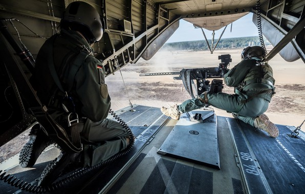 Picture army, helicopter, shooting, machine gun