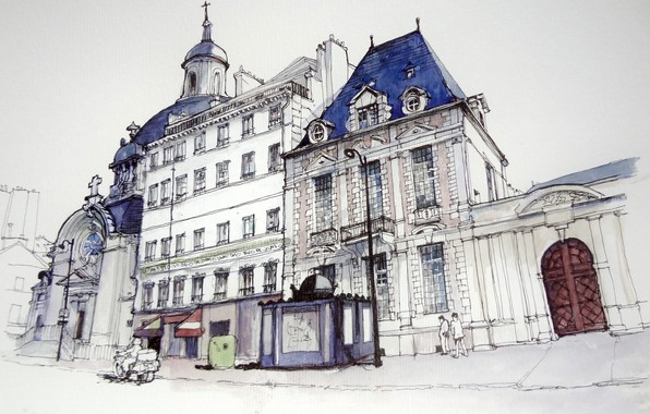 Picture house, street, figure, France, Paris, watercolor, Cathedral