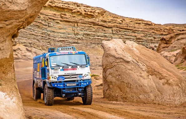 Photo wallpaper Sand, Sport, Speed, Stones, Truck, Master, Hills, Beauty, Russia, Kamaz, Rally, Rally, KAMAZ, The roads, ...