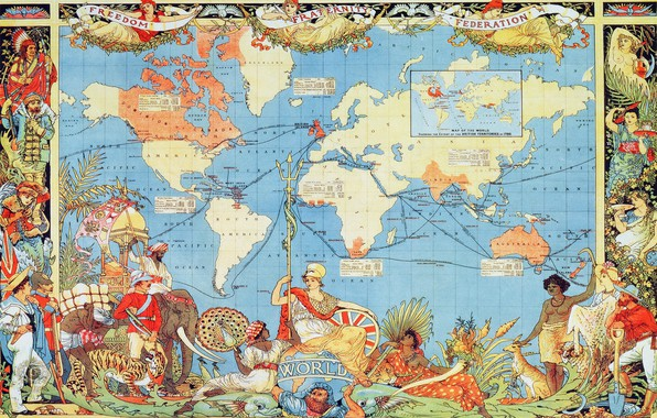 Picture world map, rarity, 1886