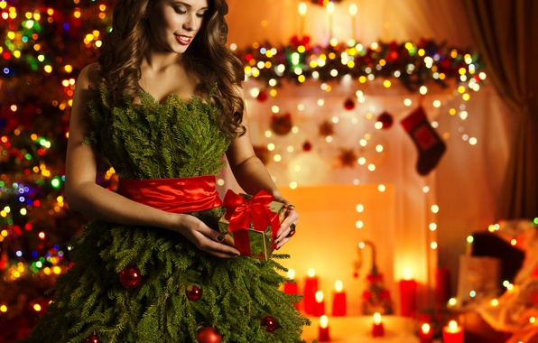Picture gift, Girls, New Year, Branches, Dress, Tree, Brown hair, Holidays