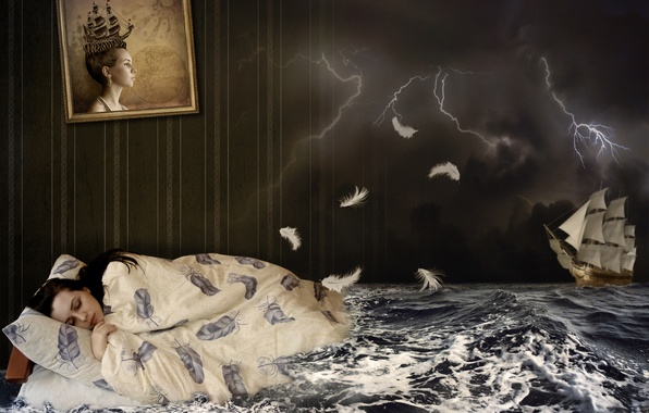 Picture sea, the storm, wave, girl, night, clouds, creative, wall, zipper, ship, bed, sleep, sailboat, picture, …