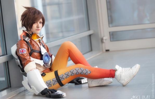 Picture girl, game, weapon, cosplay, flag, uniform, bishojo, seifuku, Overwatch