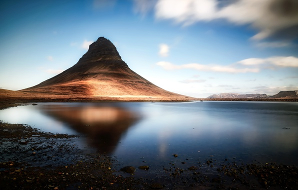 Picture nature, lake, mountain, Iceland, Kirkjufell