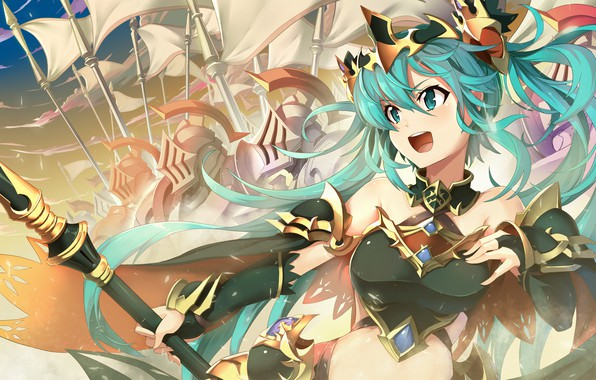 Picture girl, weapons, anime, warrior, art, vocaloid