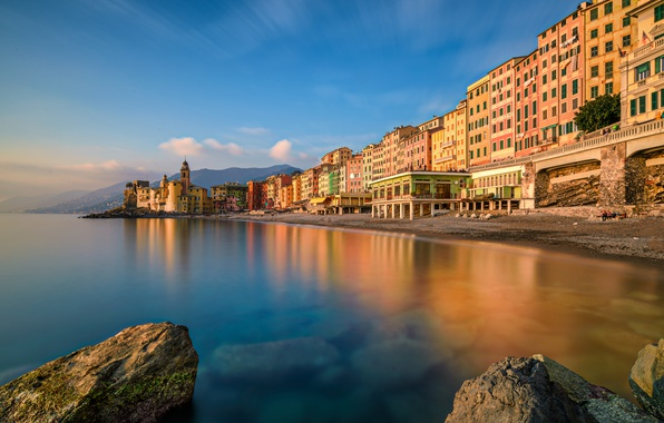 Picture sea, landscape, coast, building, Italy, Italy, The Ligurian sea, Camogli, Liguria, Liguria, Camogli, Ligurian Sea