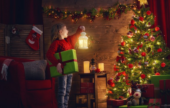 Picture decoration, joy, toys, the evening, Christmas, girl, lantern, gifts, New year, garland, 2018