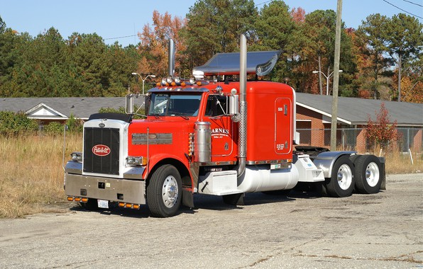 Picture red, white, peterbilt, hrome, trac
