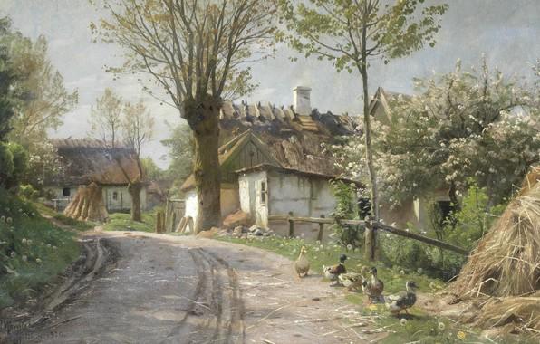 Picture 1920, Danish painter, Peter Merk Of Menstad, Peder Mørk Mønsted, Danish realist painter, A cauntry …