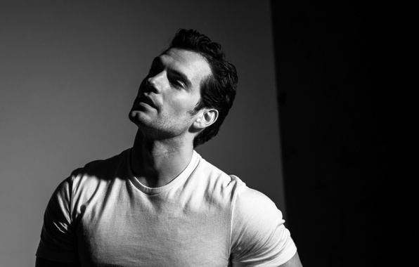 Photo Wallpaper Portrait T Shirt Actor Black And White Henry Cavill