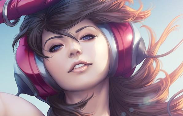 Picture Girl, Figure, Look, Headphones, Lips, Girl, Hair, Eyes, Art, Art, Stanley Lau, Artgerm, Beauty, Headphones, ...