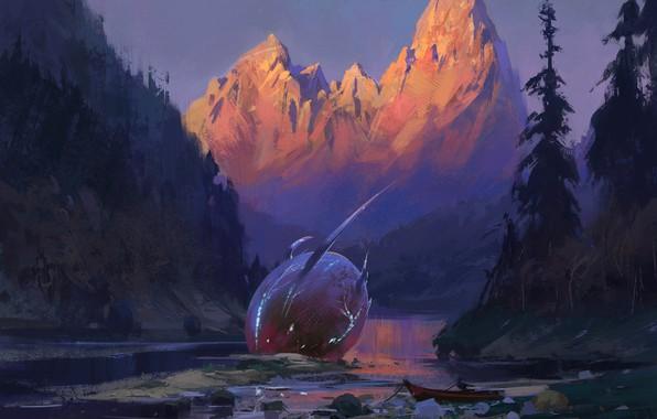 Picture fantasy, forest, river, trees, landscape, nature, sunset, mountains, man, digital art, artwork, boat, crash, fantasy …