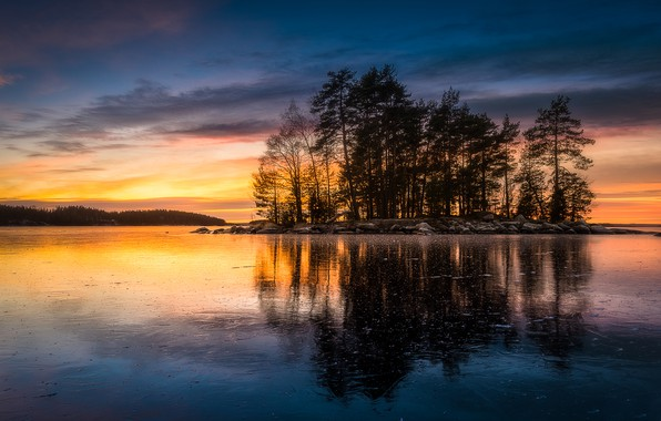 Picture trees, sunset, lake, reflection, island, Finland, Finland, Tampere, Tampere, Tampere has, Lake Näsijärvi, Lake Näsijärvi, …