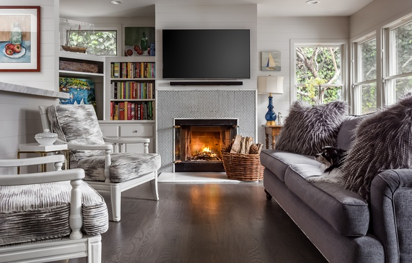 Picture sofa, chair, fireplace, living room