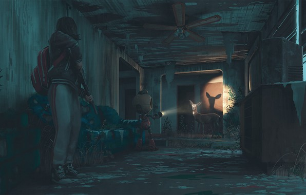 Picture house, weapons, robot, fan, deer, flashlight, home
