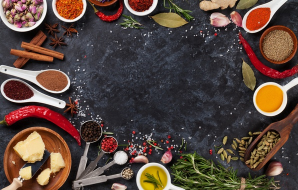 Picture pepper, cinnamon, spices, Chile, salt, rosemary, Bay leaf, anise star