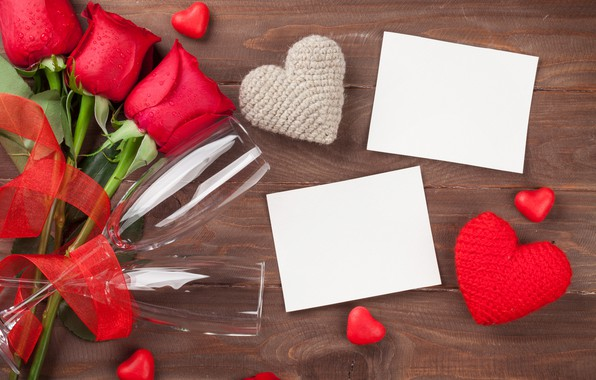 Picture love, flowers, roses, bouquet, glasses, hearts, red, red, love, wood, flowers, romantic, hearts, Valentine's Day, …