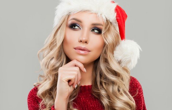 Picture reverie, pose, holiday, hat, new year, portrait, Christmas, makeup, hairstyle, blonde, maiden, beauty, in red, …