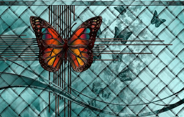 Picture line, butterfly, rendering, background, fantasy, collage, network, picture