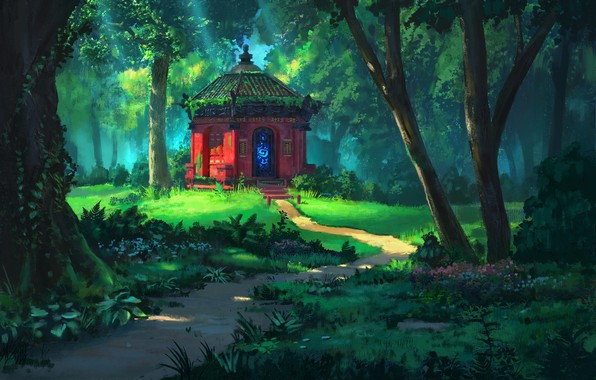 Picture summer, trees, temple, path, art, the edge of the forest, sanctuary, Rhads