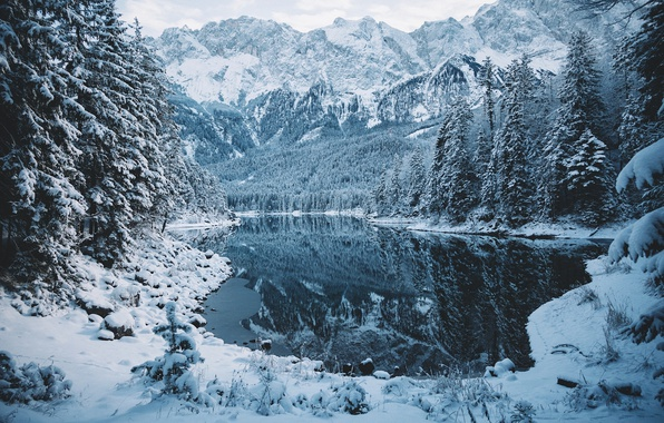 Picture winter, forest, snow, mountains, nature, lake