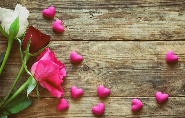 Picture roses, hearts, love, wood, pink, romantic, hearts, Valentine's Day, roses