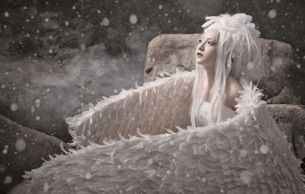 Picture girl, snow, style, bird, wings, feathers, Asian