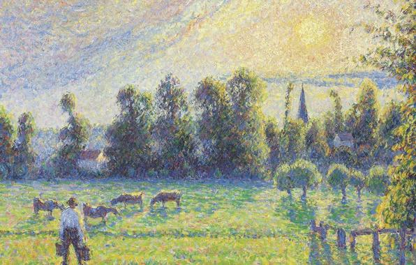 Picture landscape, picture, cows, Camille Pissarro, Pasture. Sunset. Eragny