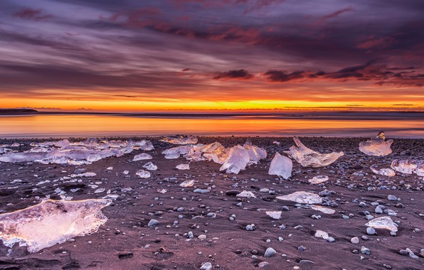 Picture ice, winter, sand, the sky, clouds, sunset, mountains, clouds, shore, ice, the evening, horizon, ice, …