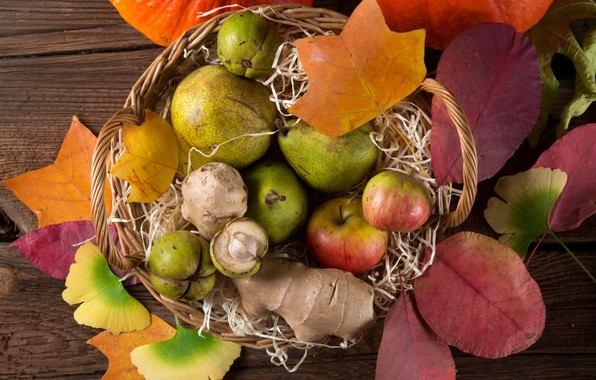 Picture leaves, basket, apples, fruit, pear, the gifts of autumn
