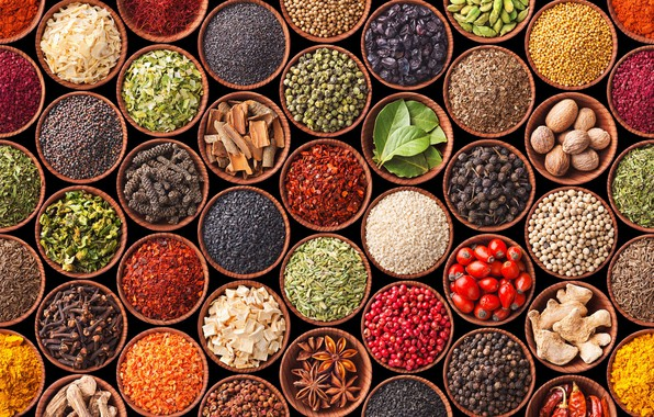 Picture pepper, carnation, spices, diversity, cardamom, star anise, mustard, turmeric
