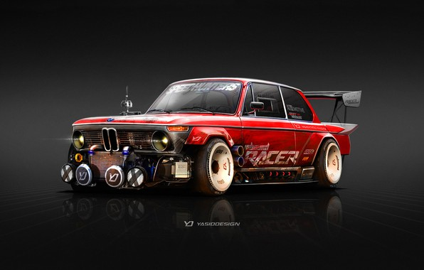 Picture Red, Figure, BMW, Red, Art, 2002, Rendering, The front, 1974, Yasid Oozeear, BMW 2002, 1974 …