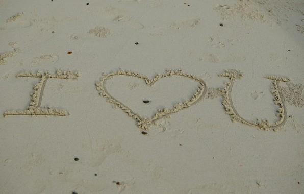 Picture sand, beach, summer, love, the inscription, heart, love, beach, I love you, heart, romantic, sand