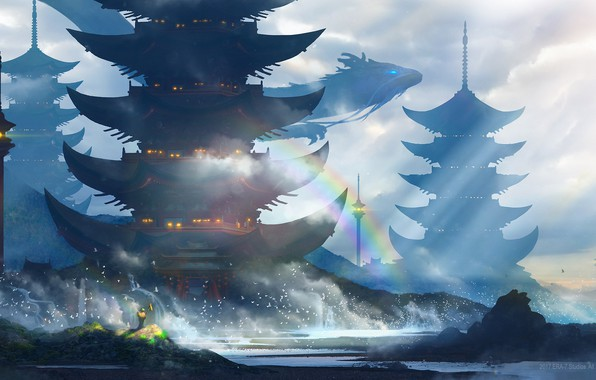Picture sea, wave, squirt, birds, lights, shore, dragon, people, rainbow, tower, Japan, art, flying, the gray …