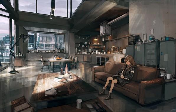 Picture girl, room, interior