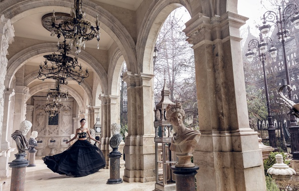 Picture girl, dress, outfit, architecture, statues, chandeliers
