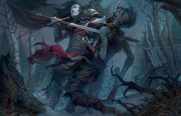 Picture sword, warrior, zombies, Andrew Kosinski, Prince Mstislav