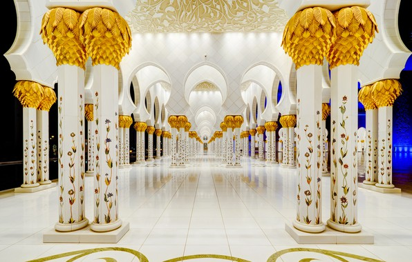 Picture columns, architecture, UAE, The Sheikh Zayed Grand mosque, Abu Dhabi