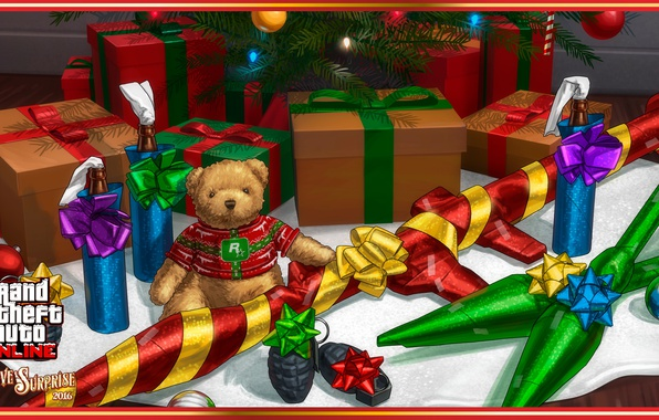 photo wallpaper gun game bear weapon gta teddy bear christmas - Gta V Christmas