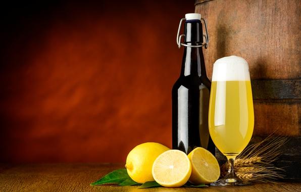 Picture glass, bottle, beer, yellow, spikelets, juice, fruit, barrel, citrus, lemons