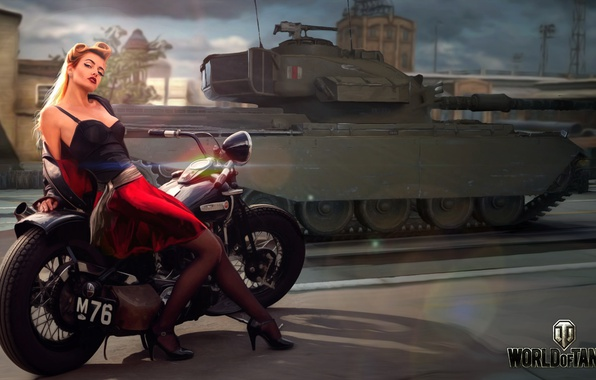 Picture road, girl, the city, figure, art, motorcycle, tank, bike, British, average, World of Tanks, Nikita …
