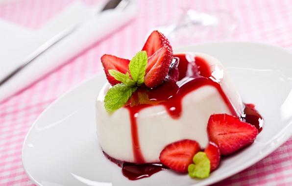 Picture strawberry, dessert, jam, Panna cotta
