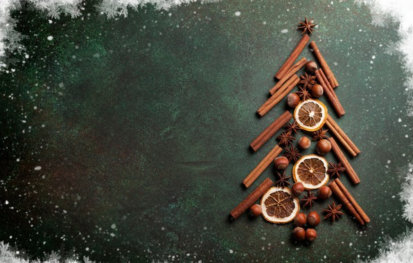 Picture decoration, snowflakes, tree, sticks, New Year, Christmas, nuts, cinnamon, Christmas, Merry Christmas, Xmas, decoration, Christmas …