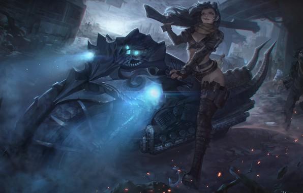 Picture night, the city, weapons, art, bike, Illustrator, Personal work - Zombie huntress, HAREN (Kim Han …