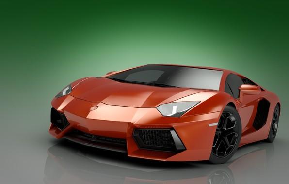 Picture abstraction, art, Parking, supercar, car, chrome, Lamborghini, green background, Lamborghini, Lamborghini Aventador, color red, wallpaper., …