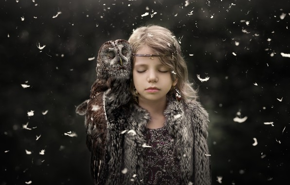Picture background, owl, girl